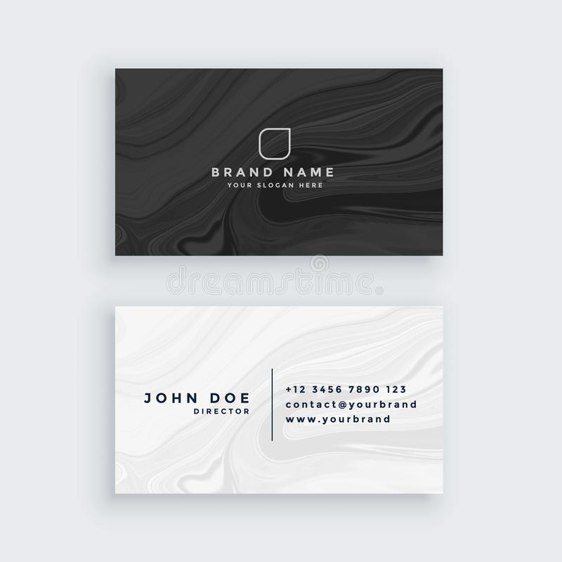 Black and white modern business card with marble texture vector illustration