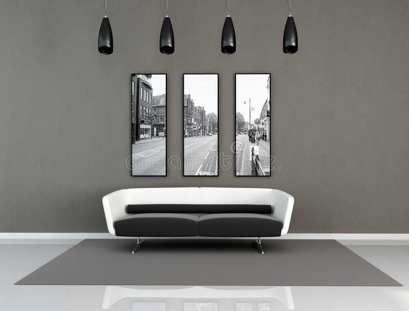 Black and white modern interior. Minimal black and white living room - digital artwork The picture art on wall is a my photo