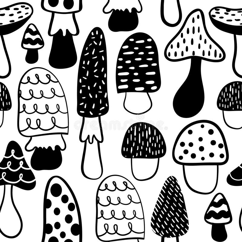 Black and white modern mushroom seamless pattern. Vector modern doodle background. vector illustration
