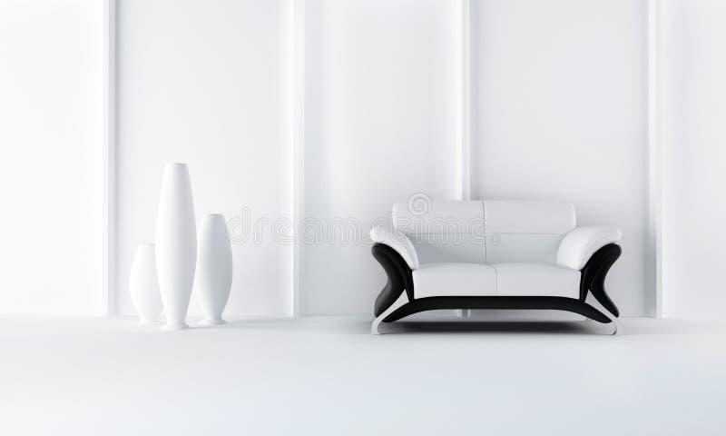 Black and white modern style sofa stock illustration