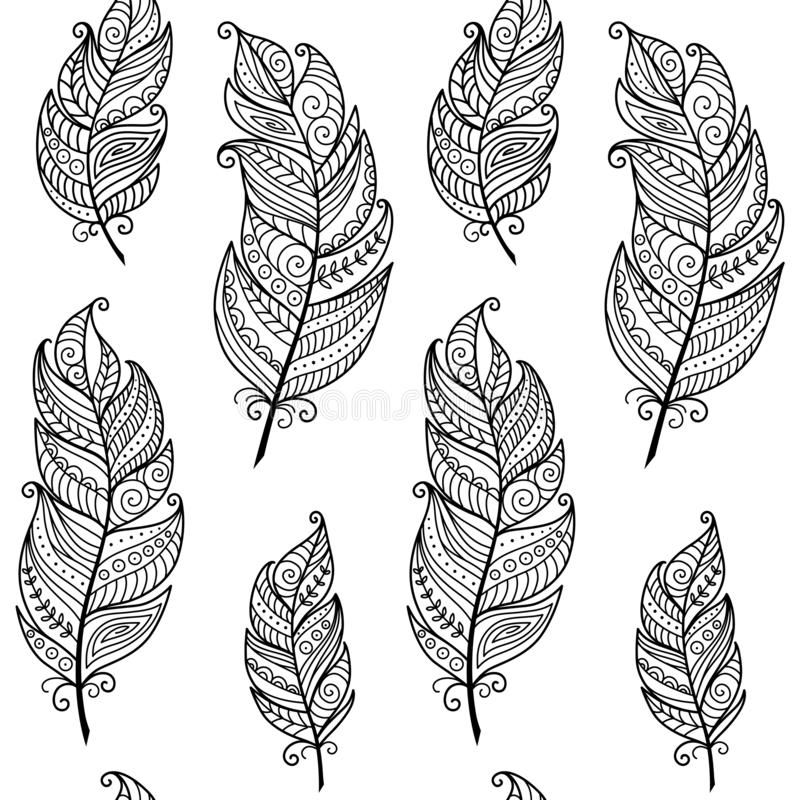 Black and white monochrome boho style seamless pattern with ethnic bird feathers. Vector hand drawn, tribal gipsy concept. royalty free illustration