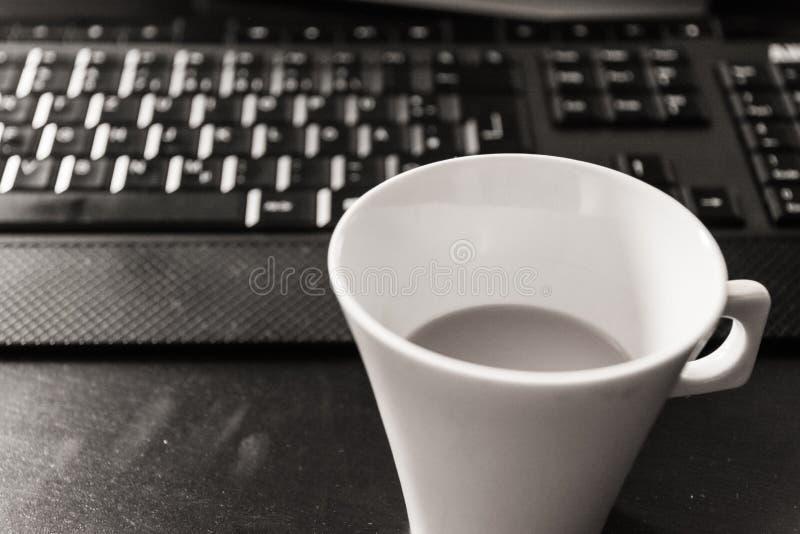Black White Monochrome Coffee Cup Morning Keyboard Workspace Desktop Computer Desk stock photography
