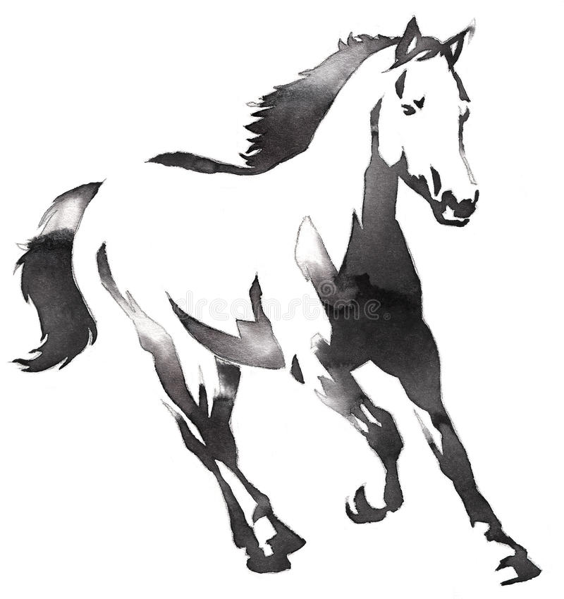 Black and white monochrome painting with water and ink draw horse illustration. Black and white painting with water and ink draw horse illustration stock illustration