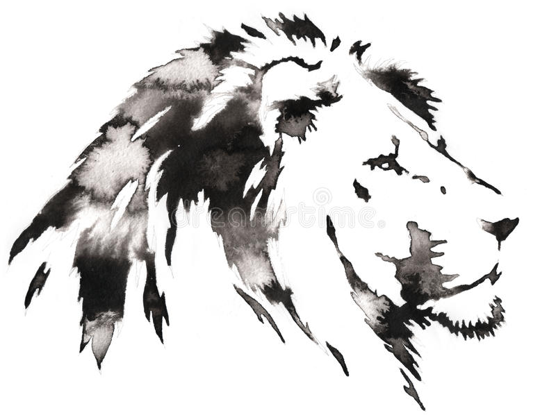 Download black and white monochrome painting with water and ink draw lion illustration stock illustration