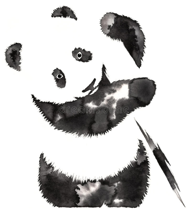 Black and white monochrome painting with water and ink draw panda illustration royalty free illustration