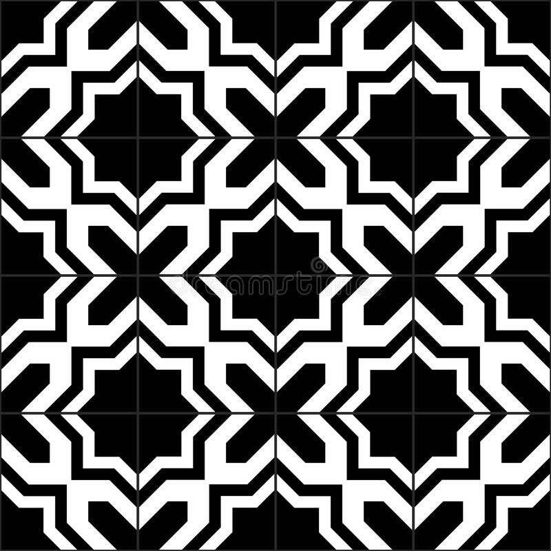 Black and white moroccan tiles seamless pattern, vector stock illustration