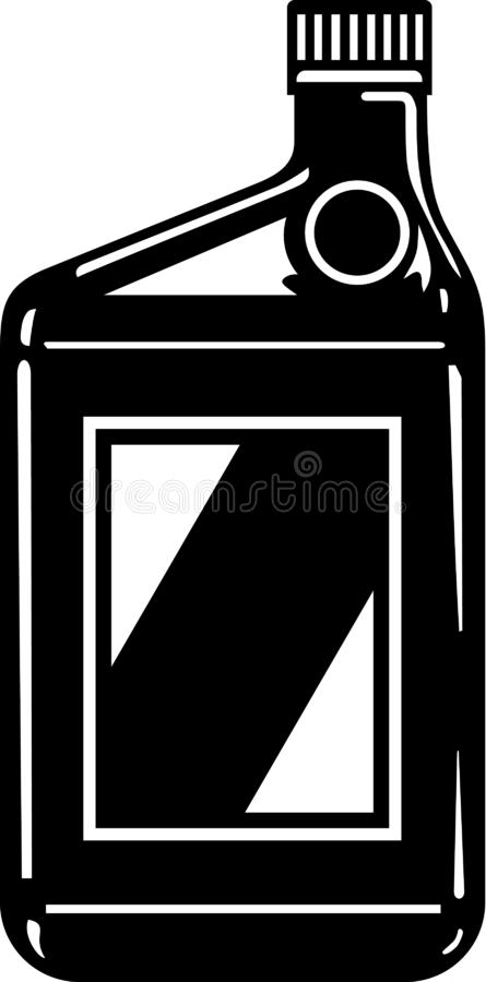 Black and White Motor Oil Container Illustration. Black and white vector illustration of a motor oil container royalty free illustration