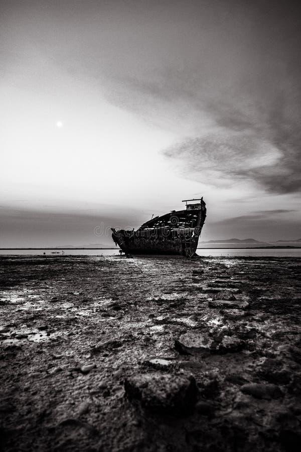 Black and white, Motueka Ship Wrecked. The famous ship in tasman coast area. I stock photography