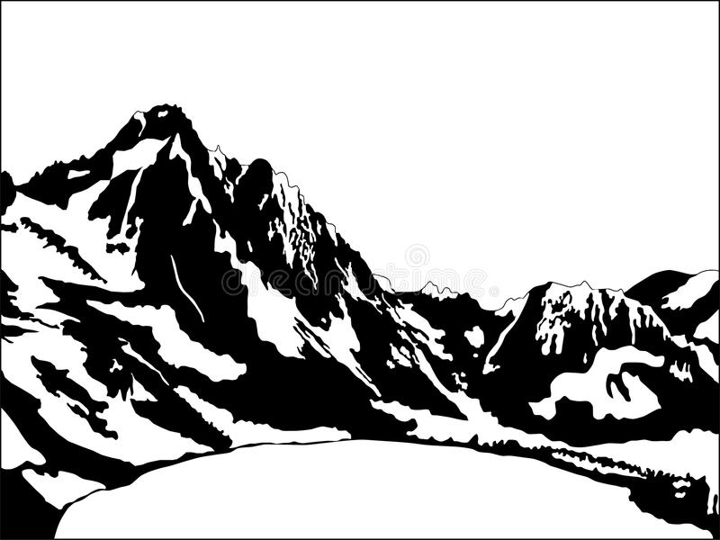 Black and white mountain. Illustration of black and white mountain massive with lake vector illustration