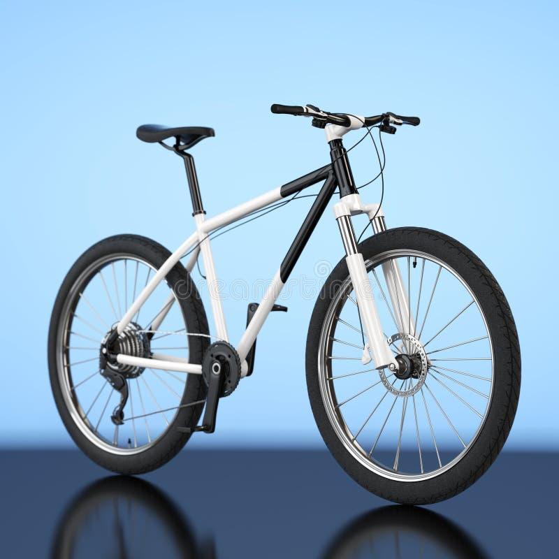 Black and White Mountain Bike. 3d Rendering. Black and White Mountain Bike on a blue background. 3d Rendering vector illustration