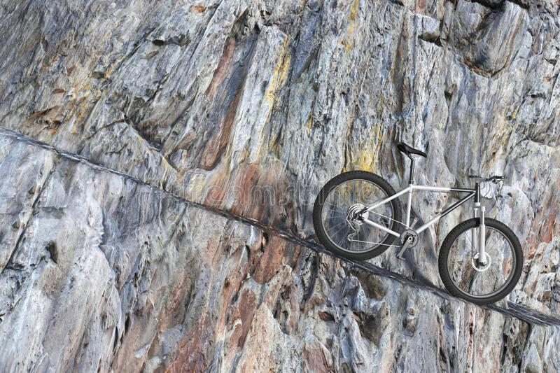 Black and White Mountain Bike on a Winding Rocky Mountain Road. 3d Rendering. Black and White Mountain Bike on a Winding Rocky Mountain Road extreme closeup. 3d royalty free illustration