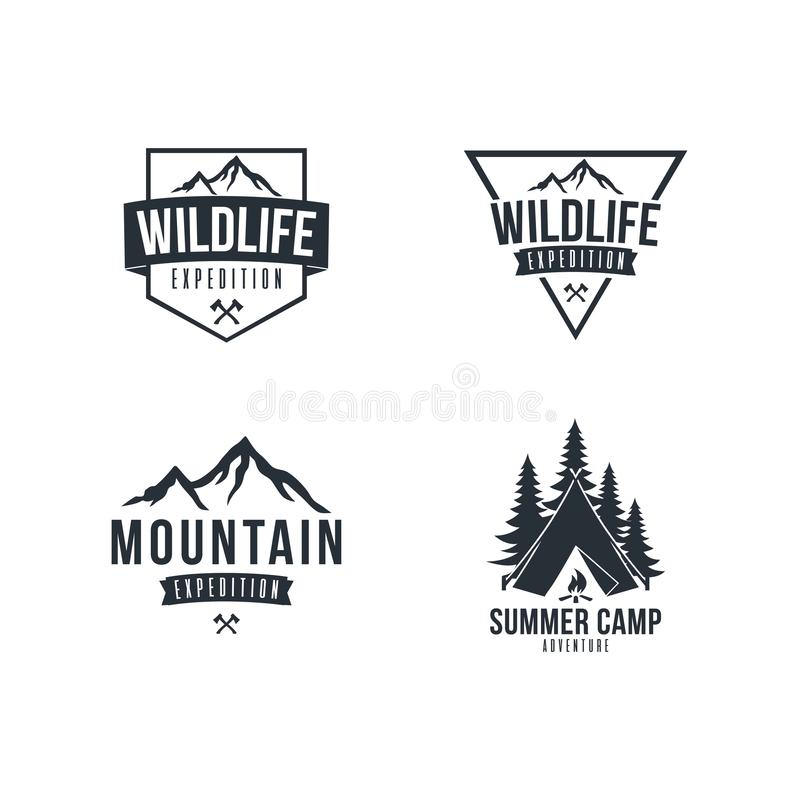 Black and White Mountain Explorer Adventure Badge Vector Design Set royalty free illustration