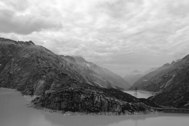 Black-white mountain lake landscape royalty free stock image