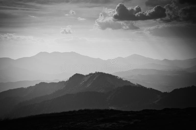 Black and white mountain landscape stock images