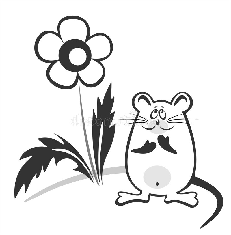 Black-and-white mouse. And flower on a white background vector illustration
