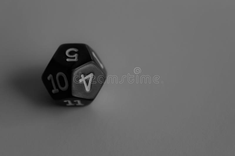 Black and White Multi-sided Die, Dice for games stock image