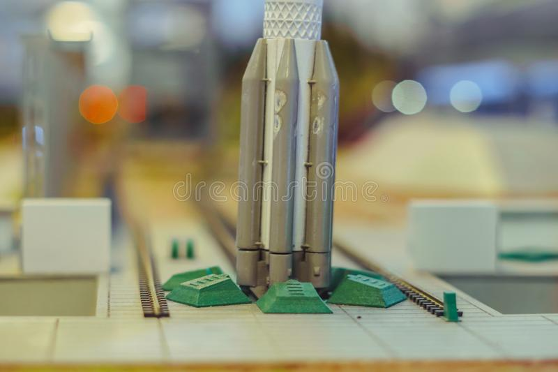 Black and white multi-stage space rocket model stock photo