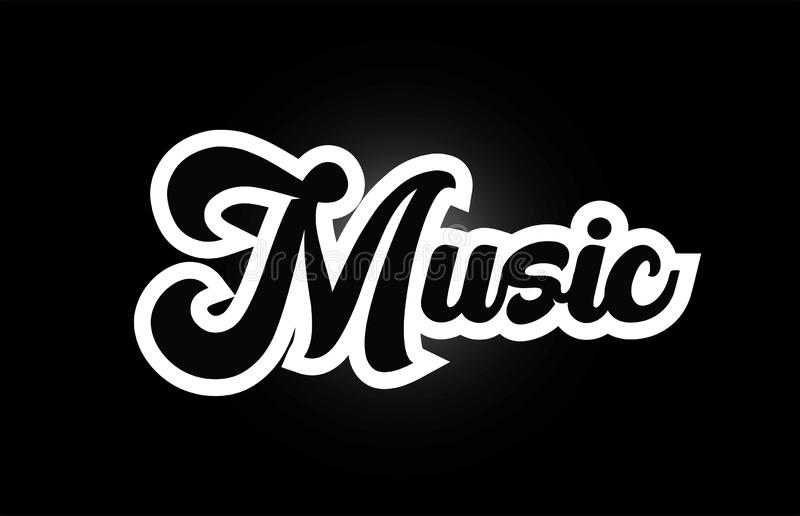 Black and white Music hand written word text for typography logo icon design. Music hand written word text for typography iocn design in black and white color vector illustration
