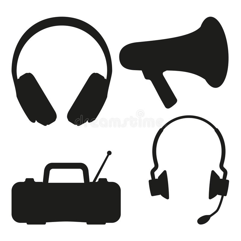 Black and white music tech items silhouette stock illustration