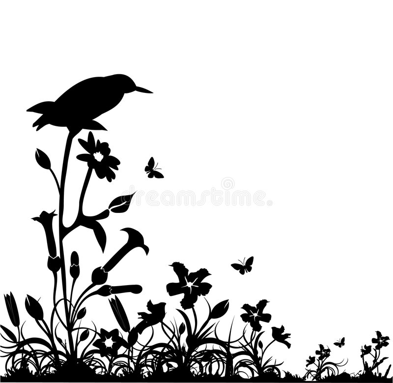 Black and white nature vector stock illustration