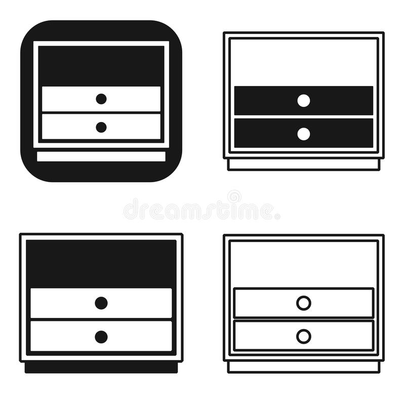 Black and white nightstand bedside icons set design illustration of bedside table vector signs for web isolated on white royalty free illustration