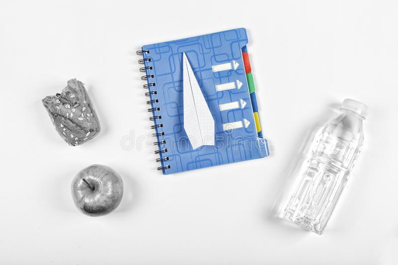 Black and white.noir. Back to school, notebook, school snack. accessories, notepad, stationery, Free space for text. Copy space. t stock photography