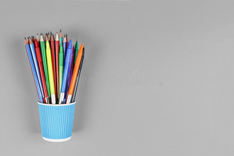 Black and white, noir, concept school, MINIMALISM, Metal holder, pencils, Still life, copy space. top view. stock image