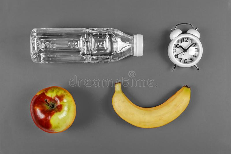 Black and white. noir. school food concept. minimalism. school snack, Top view ,flat lay with copy space stock images