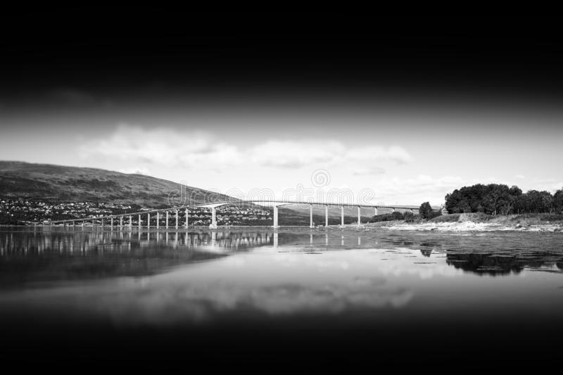 Black and white Norway bridge with reflection landscape. Hd horizontal orientation vivid vibrant bright rich postcard traveler trip nature oslo fjord ocean stock images