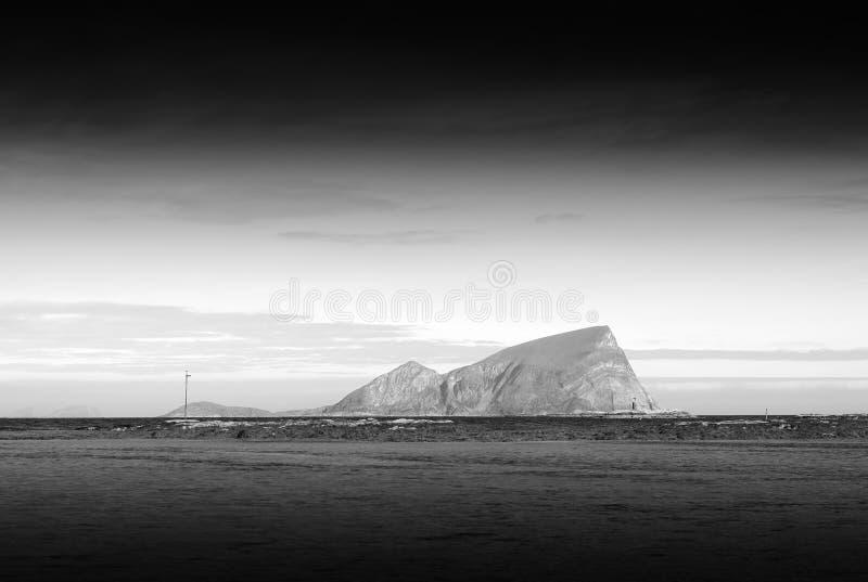 Black and white Norway island landscape background. Hd stock photo