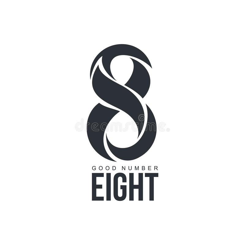 Black and white number eight logo made of abstract shapes. Black and white number eight logo template made of abstract shapes, vector illustration isolated on stock illustration