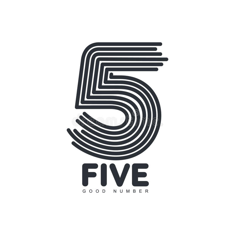 Black and white number five logo formed by repeating lines. Black and white number five logo template formed by repeating lines, vector illustration isolated on royalty free illustration