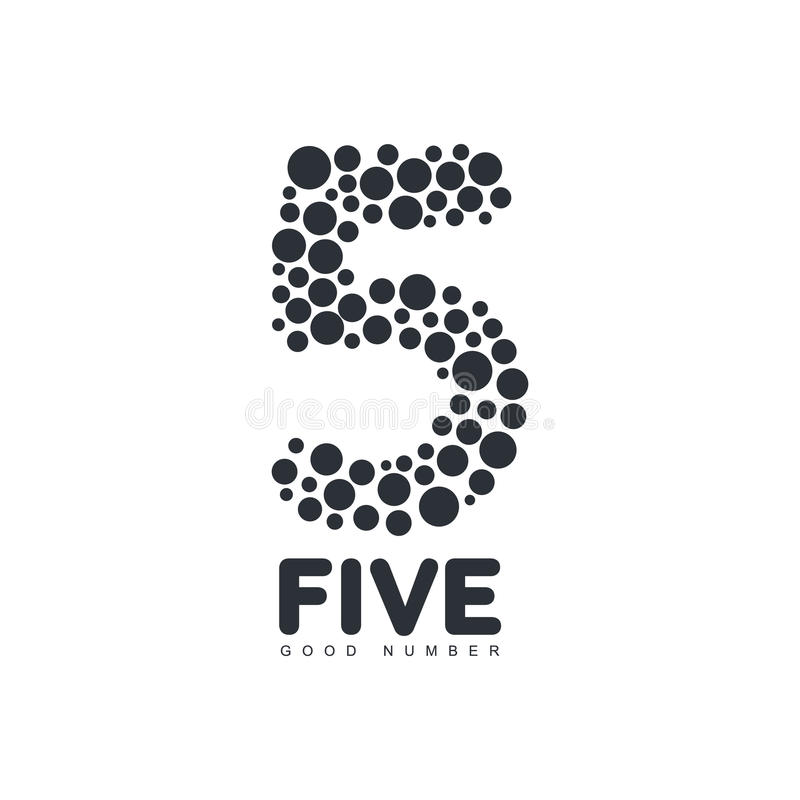 Black and white number five logo template made of circles. Vector illustration isolated on white background. Black and white number five graphic logotype royalty free illustration