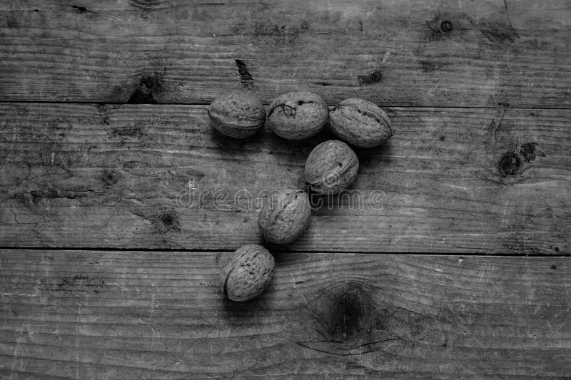 Black and white Number 7 from walnuts. Black and white of top view of english alphabet made from walnuts on a wooden table. Number 7 stock image