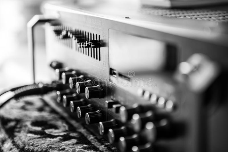 Black and white Old amplifier royalty free stock images