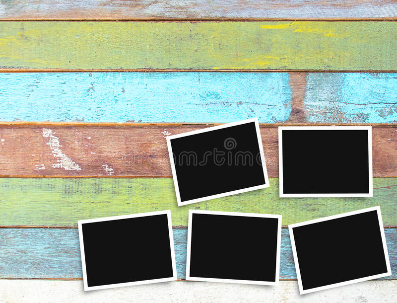 Black and white old blank photo frame on office desk stock photography
