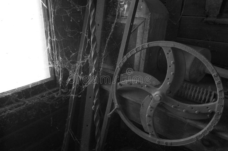 Black and white of old farm equipment royalty free stock images