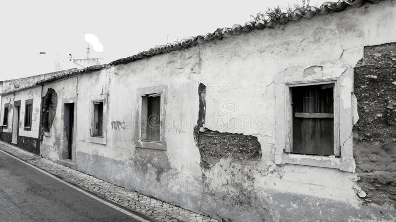 Monochrome abandoned old houses in Portugal stock photo