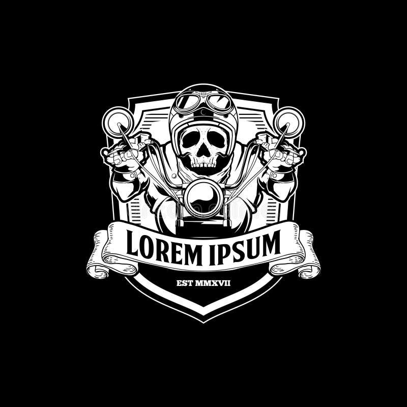Black and white Old School skull biker ride motorcycle vector vector illustration