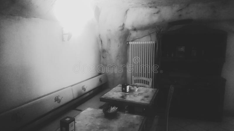 Black & White Old Secluded Room Retro stock photo