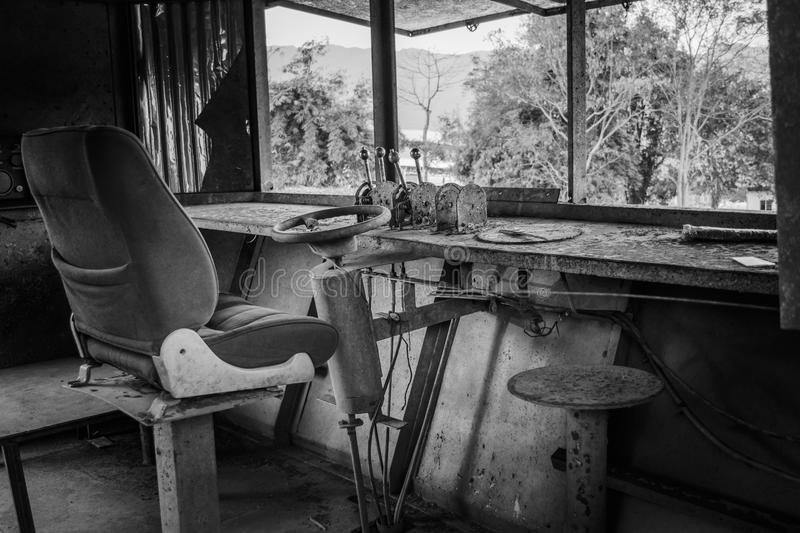 Black and white old ship driver room vintage. With alot of dust stock images