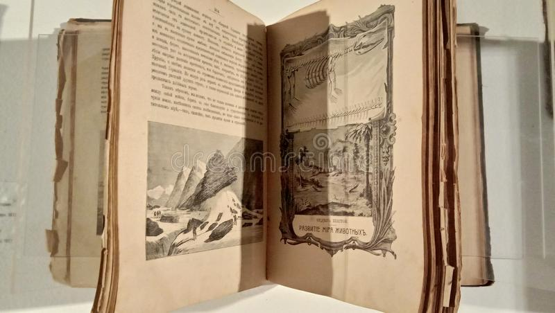 Black and white, old textbooks with lithographs, telling about ancient animals, mammals, their description and the table of crossi. Ng of individuals. the stock photography