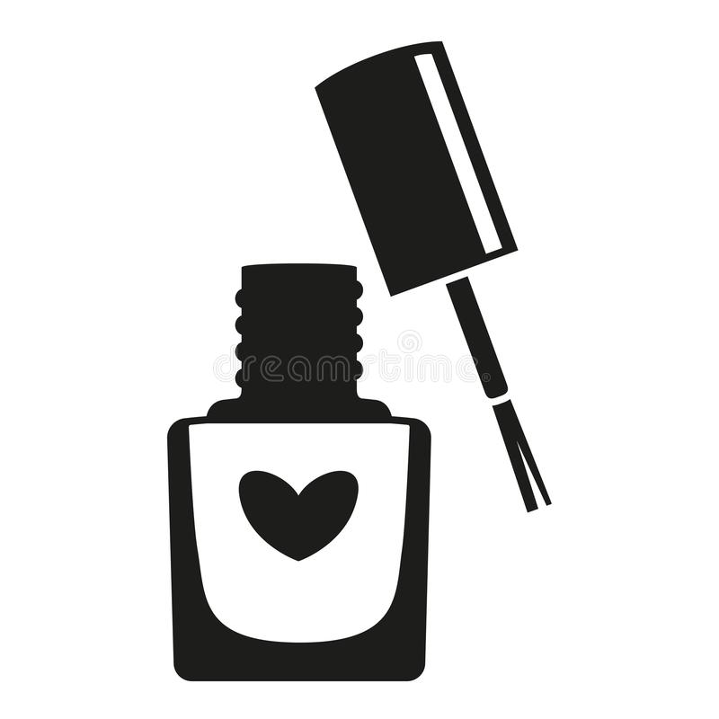 Black and white open nail polish bottle silhouette. Hand hygiene solution. Beauty manicure themed vector illustration for icon, logo, stamp, label, sticker vector illustration
