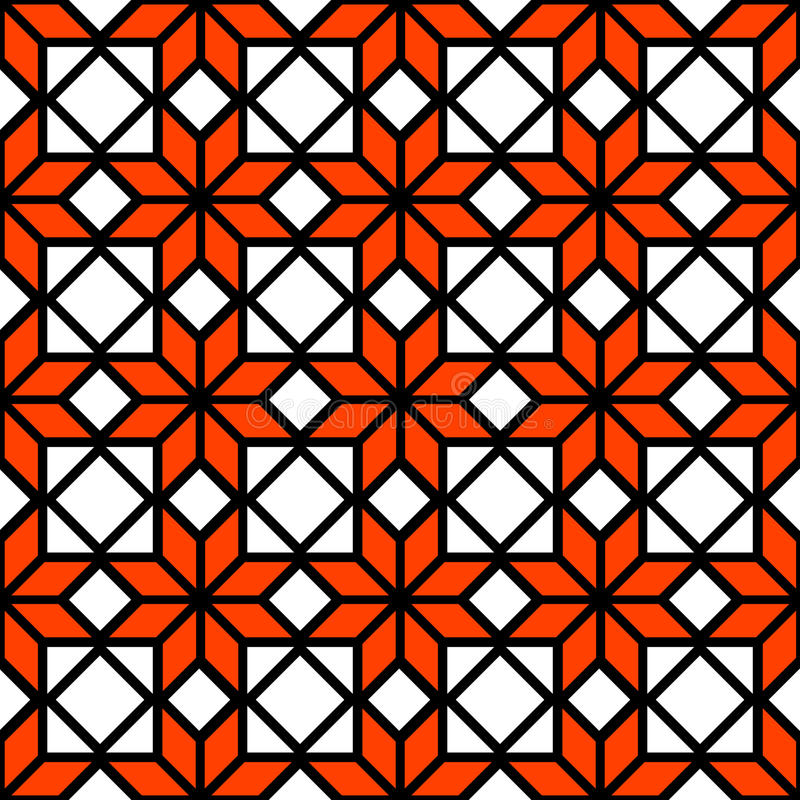Black white and orange simple star shape geometric seamless pattern, vector vector illustration