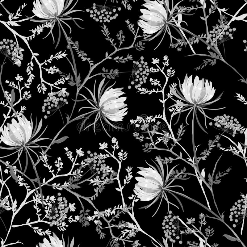 Black and white oriental Seamless pattern of soft and graceful b. Looming flowers,botanical vector design for fashion,fabric,wallpaper,and all prints on black vector illustration