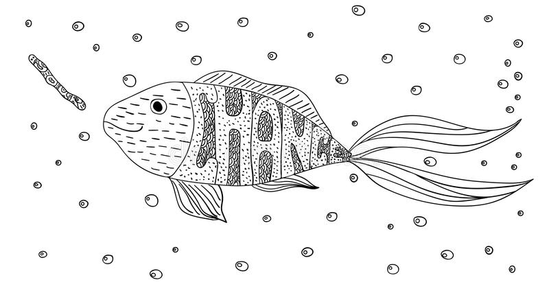 Black and white ornament creative motivational fish and worm in the sea with bubbles design decorative lace. Your chance. Page col royalty free illustration