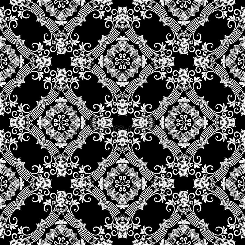 Black and white ornamental greek vector seamless pattern. Abstract geometric patterned background. Floral ornament. Modern design stock illustration