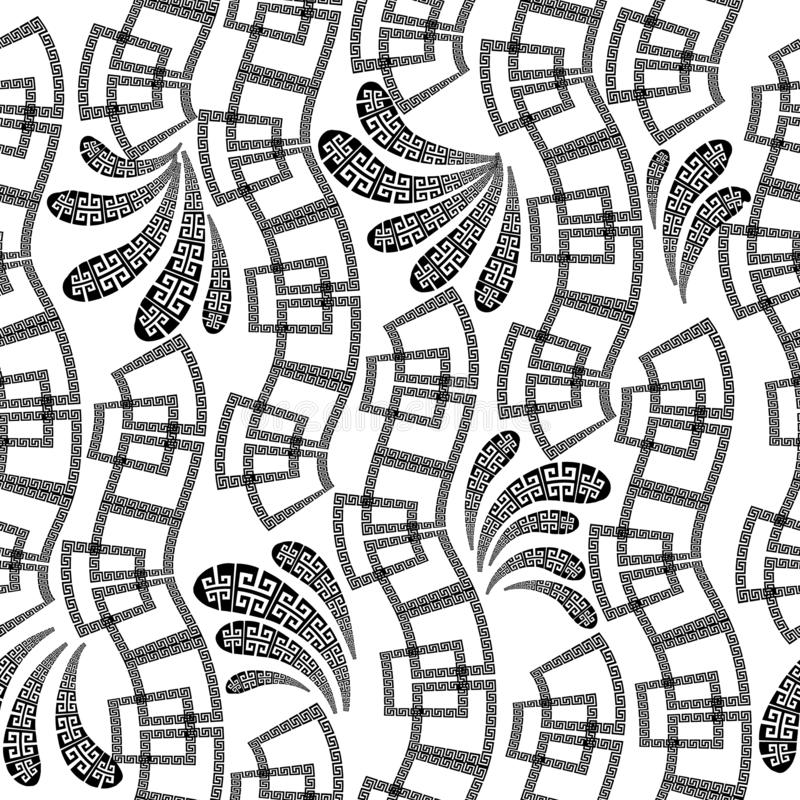 Black and white ornamental greek vector seamless pattern. Wave greek key meanders shapes, lines, flowers. Monochrome isolated. Geometric ornate background stock illustration