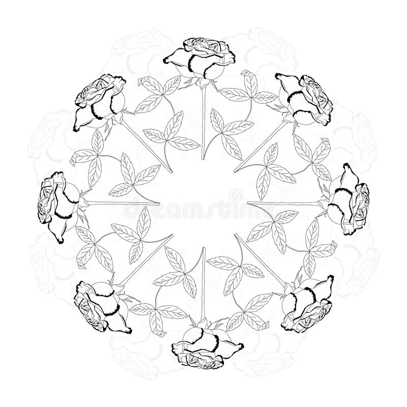 Black and white ornamental round with rose. Vector illustration royalty free illustration