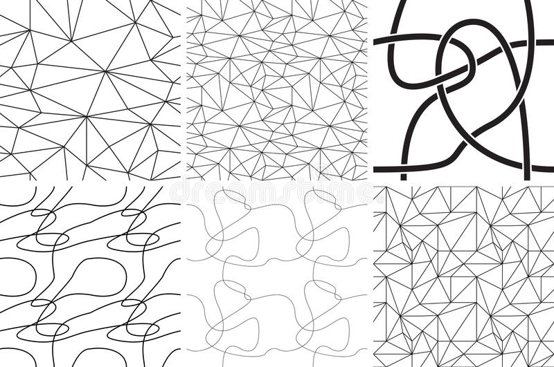 Black and white ornaments. Abstract lines and curves. Seamless patterns royalty free illustration